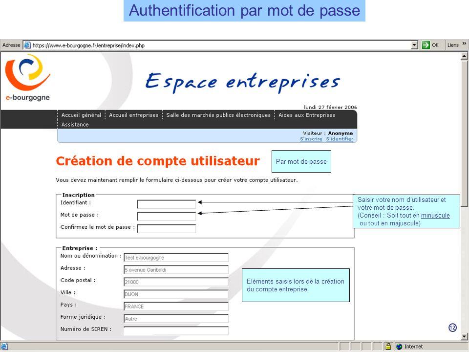 Eléments saisis lors de la création du compte entreprise Saisir votre nom dutilisateur et votre mot de passe.