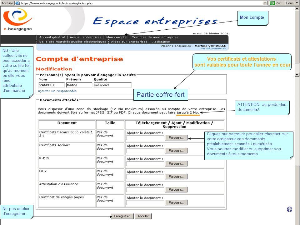 Partie coffre-fort Cliquez sur parcourir pour aller chercher sur votre ordinateur vos documents préalablement scannés / numérisés.