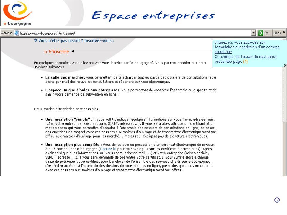cliquez ici, vous accédez aux formulaires dinscription dun compte entreprise Couverture de lécran de navigation présentée page (7) 3