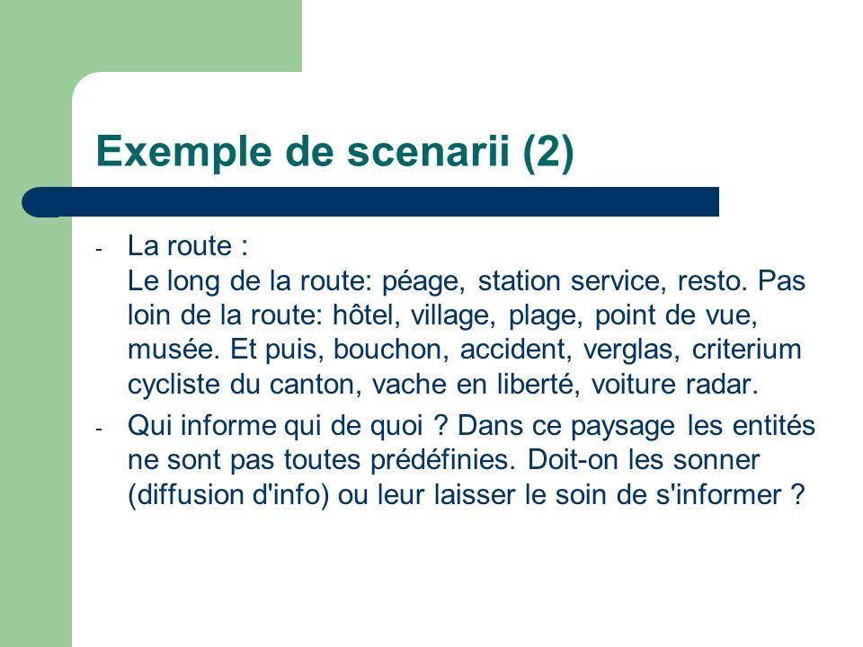 Exemple de scenarii (2) - La route : Le long de la route: péage, station service, resto. Pas loin de la route: hôtel, village, plage, point de vue, mu