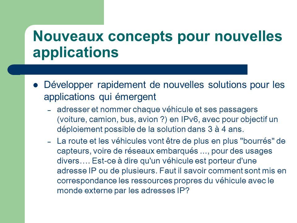 Nouveaux concepts pour nouvelles applications Développer rapidement de nouvelles solutions pour les applications qui émergent – adresser et nommer cha