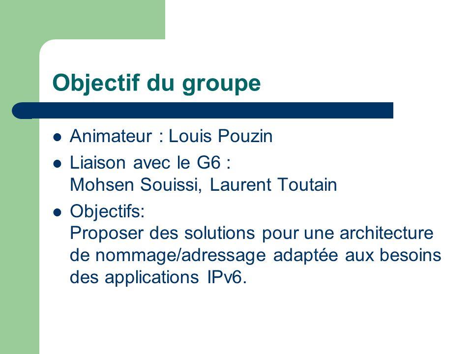 Objectif du groupe Animateur : Louis Pouzin Liaison avec le G6 : Mohsen Souissi, Laurent Toutain Objectifs: Proposer des solutions pour une architecture de nommage/adressage adaptée aux besoins des applications IPv6.