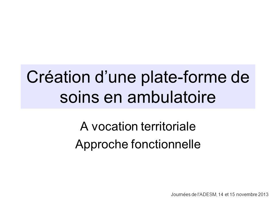 Création dune plate-forme de soins en ambulatoire A vocation territoriale Approche fonctionnelle Journées de l ADESM, 14 et 15 novembre 2013