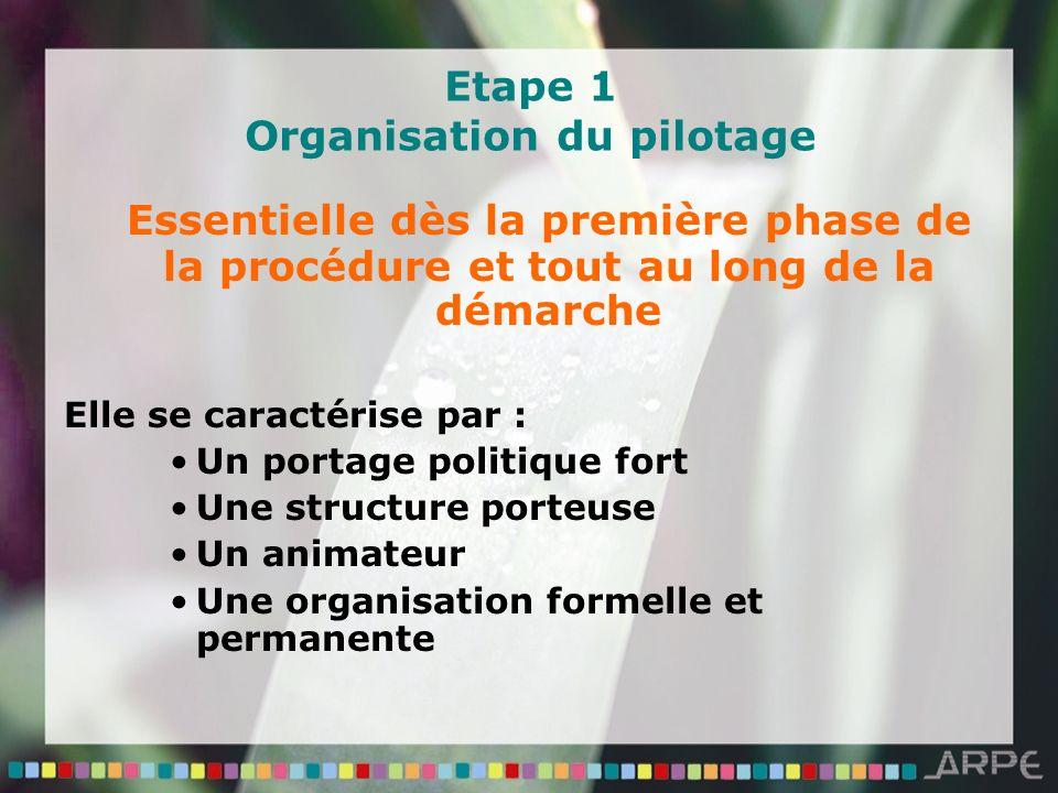 Etape 1 Organisation du pilotage Essentielle dès la première phase de la procédure et tout au long de la démarche Elle se caractérise par : Un portage