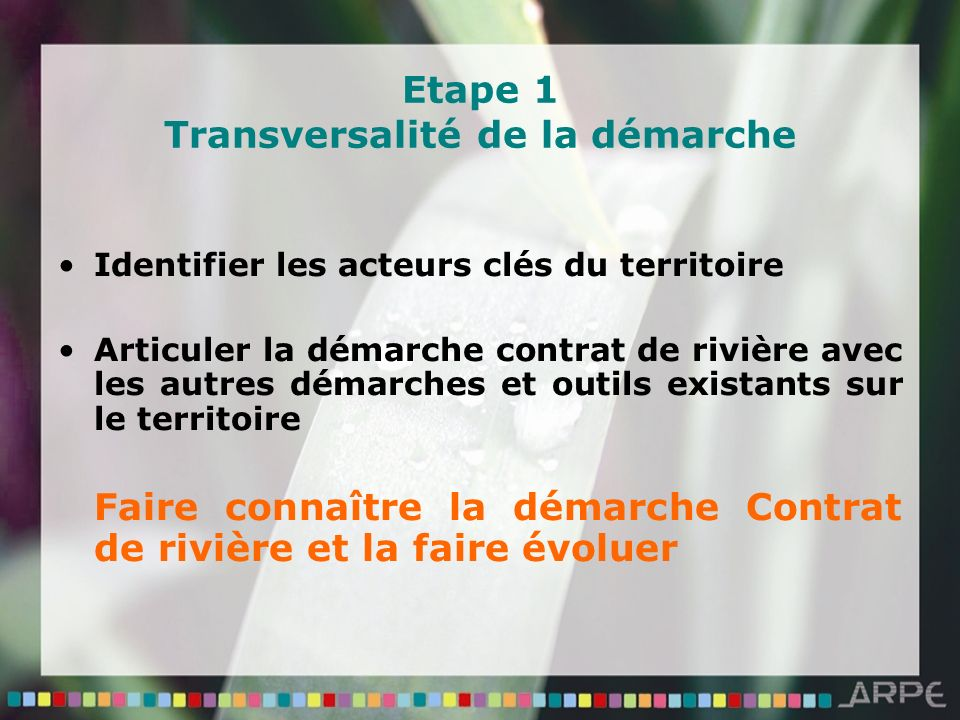 Etape 1 Transversalité de la démarche Identifier les acteurs clés du territoire Articuler la démarche contrat de rivière avec les autres démarches et outils existants sur le territoire Faire connaître la démarche Contrat de rivière et la faire évoluer