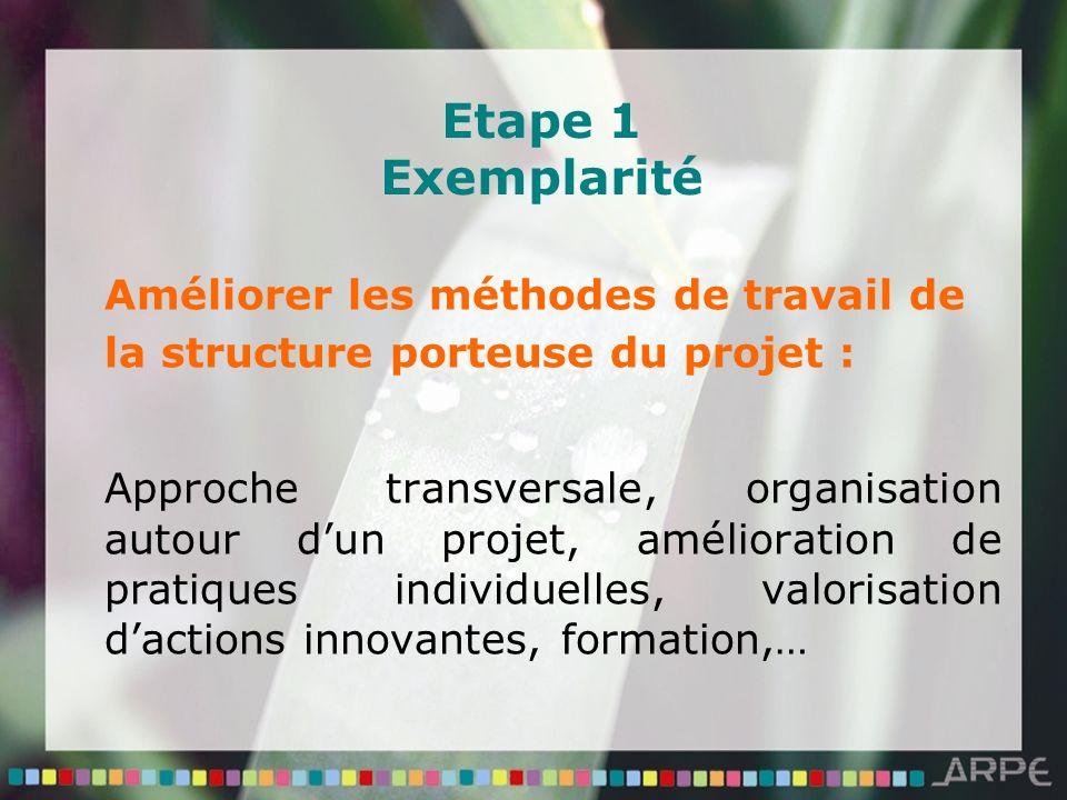 Etape 1 Exemplarité Améliorer les méthodes de travail de la structure porteuse du projet : Approche transversale, organisation autour dun projet, amélioration de pratiques individuelles, valorisation dactions innovantes, formation,…