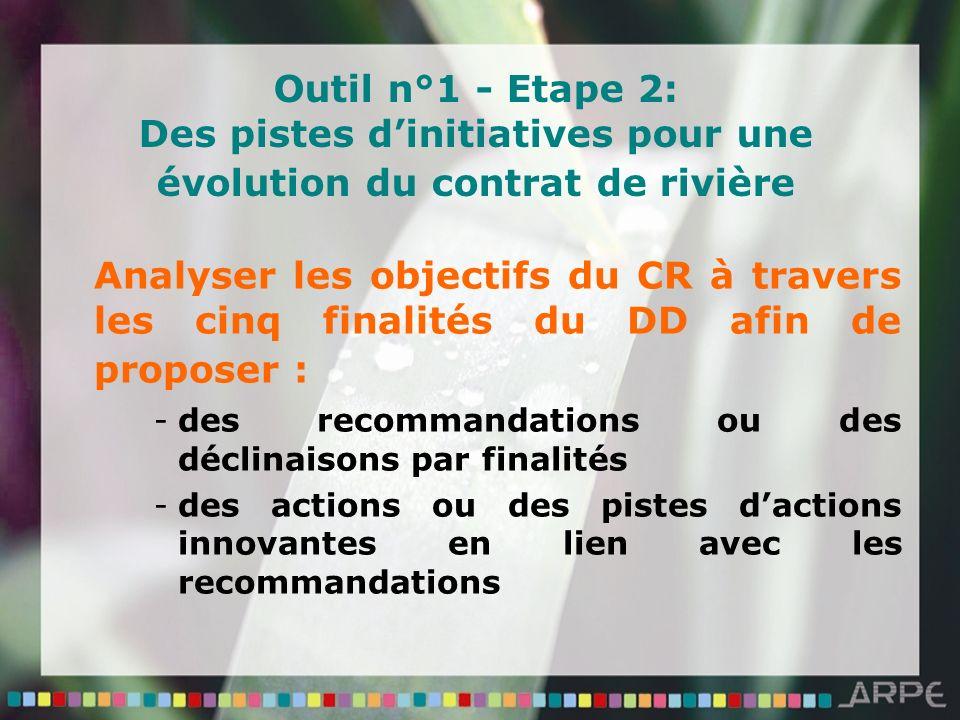 Outil n°1 - Etape 2: Des pistes dinitiatives pour une évolution du contrat de rivière Analyser les objectifs du CR à travers les cinq finalités du DD afin de proposer : -des recommandations ou des déclinaisons par finalités -des actions ou des pistes dactions innovantes en lien avec les recommandations