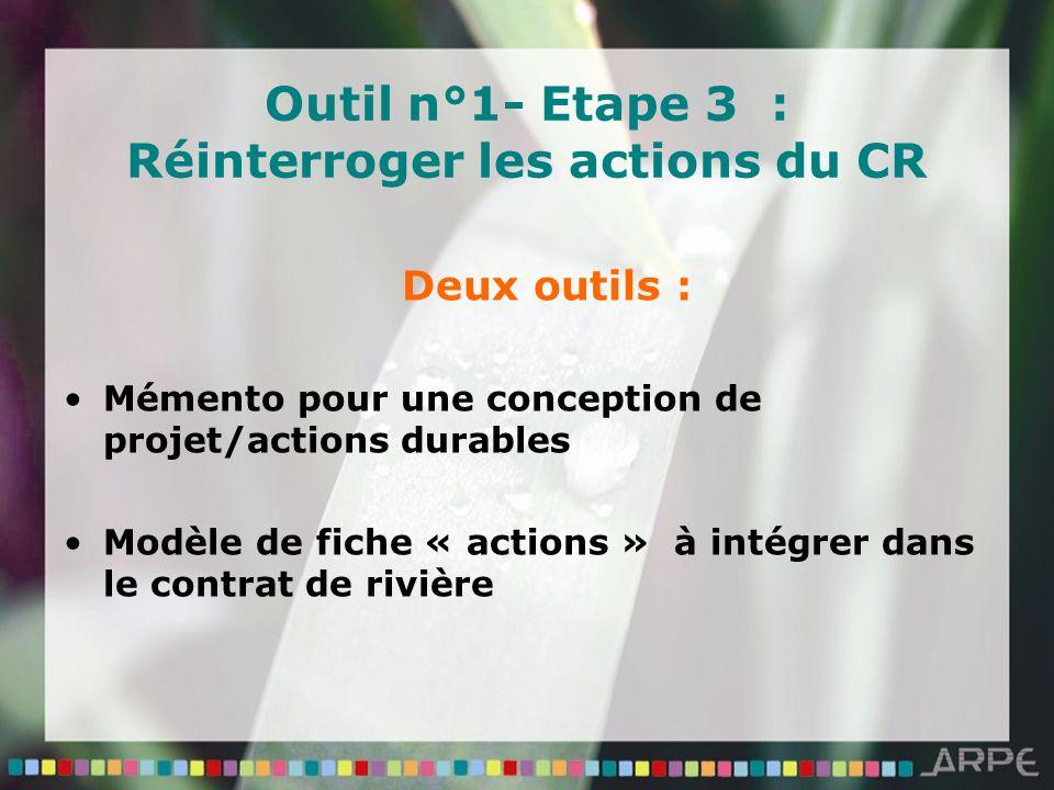 Outil n°1- Etape 3 : Réinterroger les actions du CR Deux outils : Mémento pour une conception de projet/actions durables Modèle de fiche « actions » à