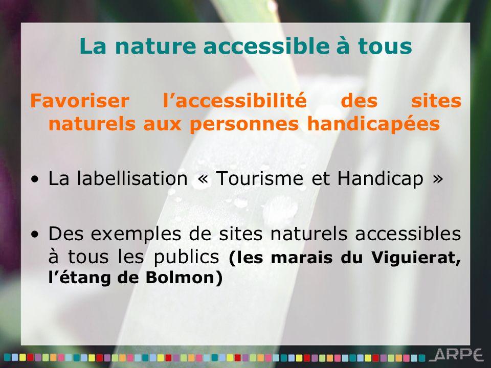 La nature accessible à tous Favoriser laccessibilité des sites naturels aux personnes handicapées La labellisation « Tourisme et Handicap » Des exemples de sites naturels accessibles à tous les publics (les marais du Viguierat, létang de Bolmon)