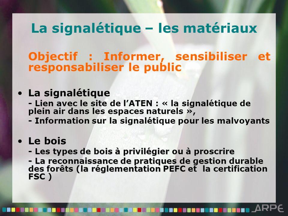 La signalétique – les matériaux Objectif : Informer, sensibiliser et responsabiliser le public La signalétique - Lien avec le site de lATEN : « la sig