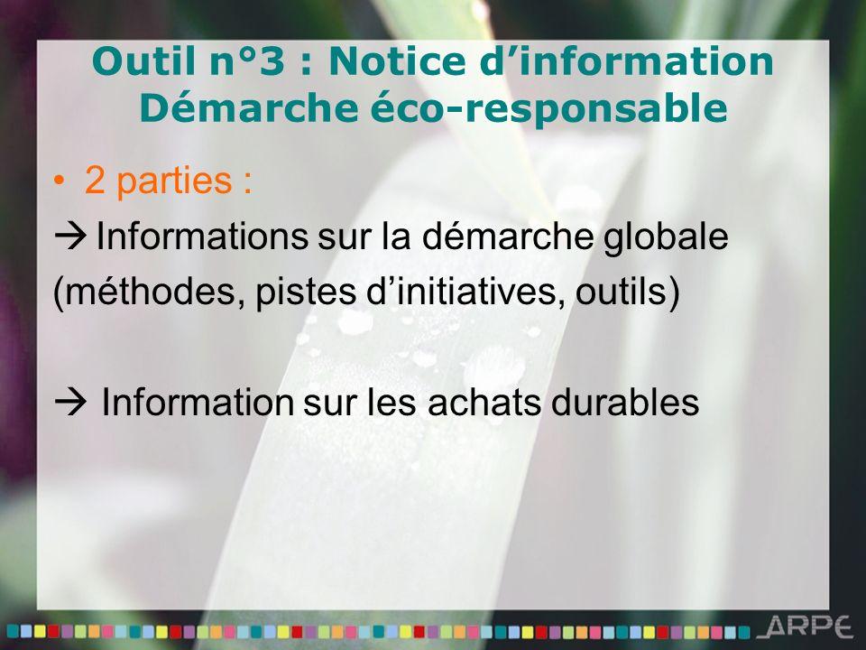 Outil n°3 : Notice dinformation Démarche éco-responsable 2 parties : Informations sur la démarche globale (méthodes, pistes dinitiatives, outils) Information sur les achats durables