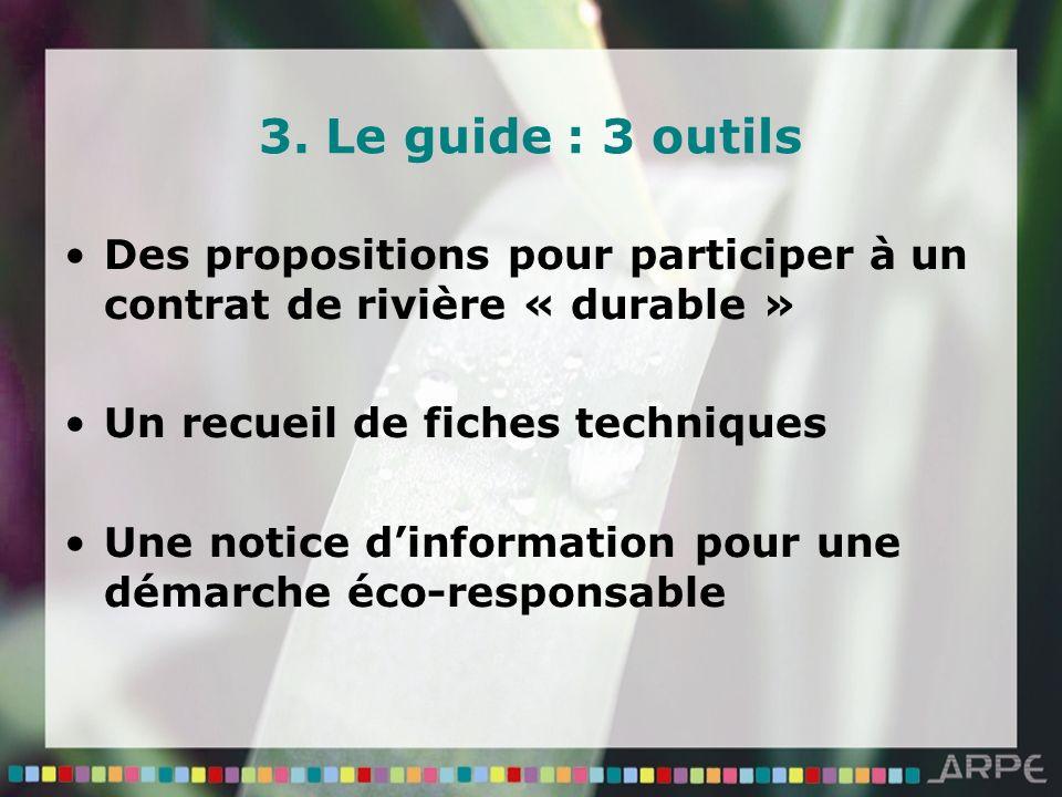 3. Le guide : 3 outils Des propositions pour participer à un contrat de rivière « durable » Un recueil de fiches techniques Une notice dinformation po