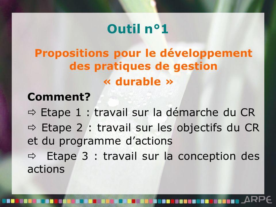 Outil n°1 Propositions pour le développement des pratiques de gestion « durable » Comment? Etape 1 : travail sur la démarche du CR Etape 2 : travail s
