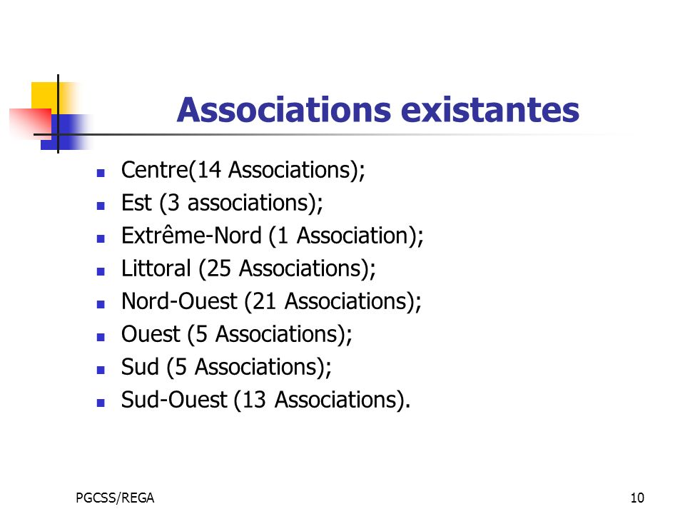 PGCSS/REGA10 Associations existantes Centre(14 Associations); Est (3 associations); Extrême-Nord (1 Association); Littoral (25 Associations); Nord-Oue