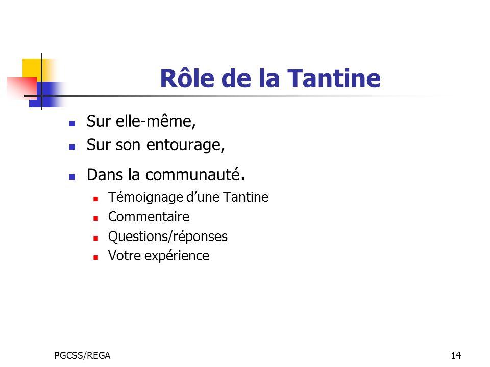 PGCSS/REGA14 Rôle de la Tantine Sur elle-même, Sur son entourage, Dans la communauté. Témoignage dune Tantine Commentaire Questions/réponses Votre exp