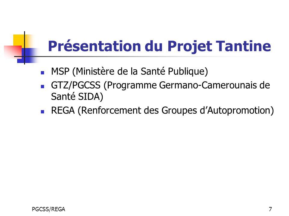 PGCSS/REGA7 Présentation du Projet Tantine MSP (Ministère de la Santé Publique) GTZ/PGCSS (Programme Germano-Camerounais de Santé SIDA) REGA (Renforcement des Groupes dAutopromotion)