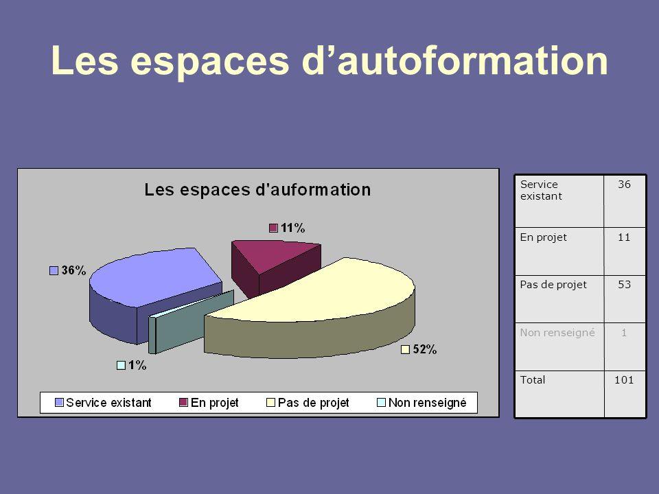 Les espaces dautoformation 101Total 1Non renseigné 53Pas de projet 11En projet 36Service existant