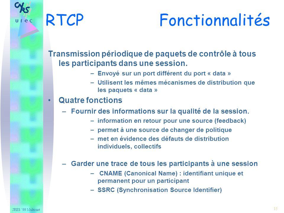 JRES 99 Multicast 15 Transmission périodique de paquets de contrôle à tous les participants dans une session.