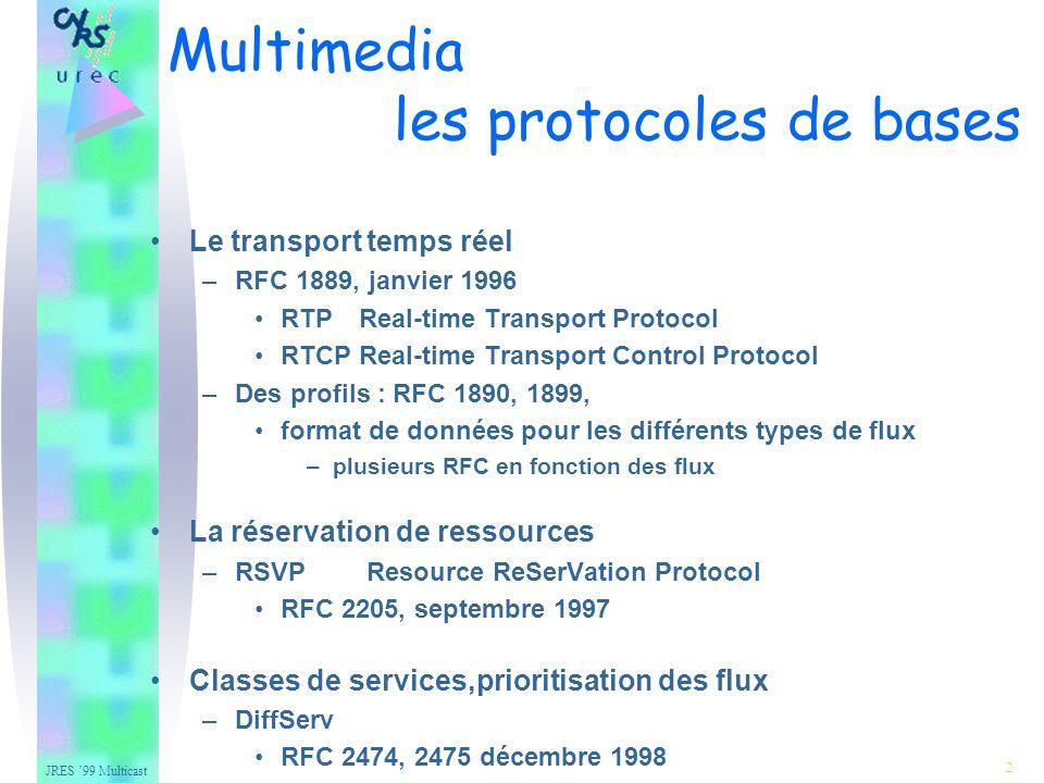 JRES 99 Multicast 23 –Recommandations indépendantes de l encodage Gestion des silences –Pas d envoi de paquets pendant les silences : bit M (marker bit) a 1 –Envoi de paquets pendant les silences : bit M (marker bit) a 0 L horloge RTP est indépendante du nombre de canaux utilisés et de l encodage –Si N canaux alors N échantillons pendant une période Les fréquences d échantillonnage utilisables (Hz) : –8000, 11025, 16000, 22050, 24000, 32000, 44100, 48000 Par défaut, « taille d un paquet » : 20 ms Sessions multi-canaux : les échantillons d un même instant doivent être dans le même paquet RTP 2l r 3l r c 4Fl Fr Rl Rr 4l c r S 5Fl Fr Fc Sl Sr 6l lc c r rc S canaux |1 2 3 4 5 6 canal légende : l left r right c center S surround F front R rear Audio