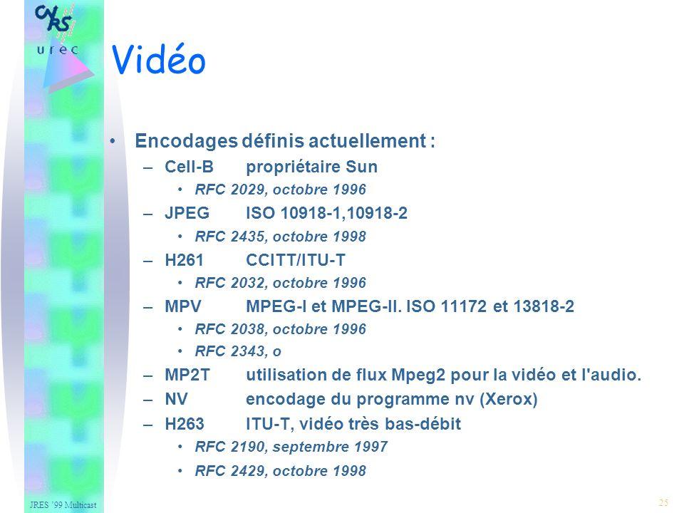 JRES 99 Multicast 25 Encodages définis actuellement : –Cell-Bpropriétaire Sun RFC 2029, octobre 1996 –JPEGISO 10918-1,10918-2 RFC 2435, octobre 1998 –H261CCITT/ITU-T RFC 2032, octobre 1996 –MPVMPEG-I et MPEG-II.