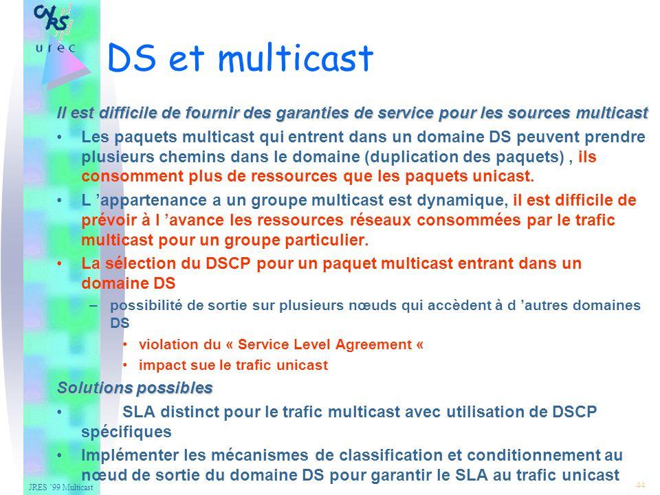 JRES 99 Multicast 44 DS et multicast Il est difficile de fournir des garanties de service pour les sources multicast Les paquets multicast qui entrent dans un domaine DS peuvent prendre plusieurs chemins dans le domaine (duplication des paquets), ils consomment plus de ressources que les paquets unicast.