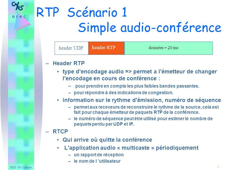 JRES 99 Multicast 19 – Translator envoie les flux de différentes sources séparément transmet les paquets RTP avec leur identificateur SSRC intact certains translators peuvent changer l encodage des données, il assigne alors de nouveaux numéros de séquences aux paquets.