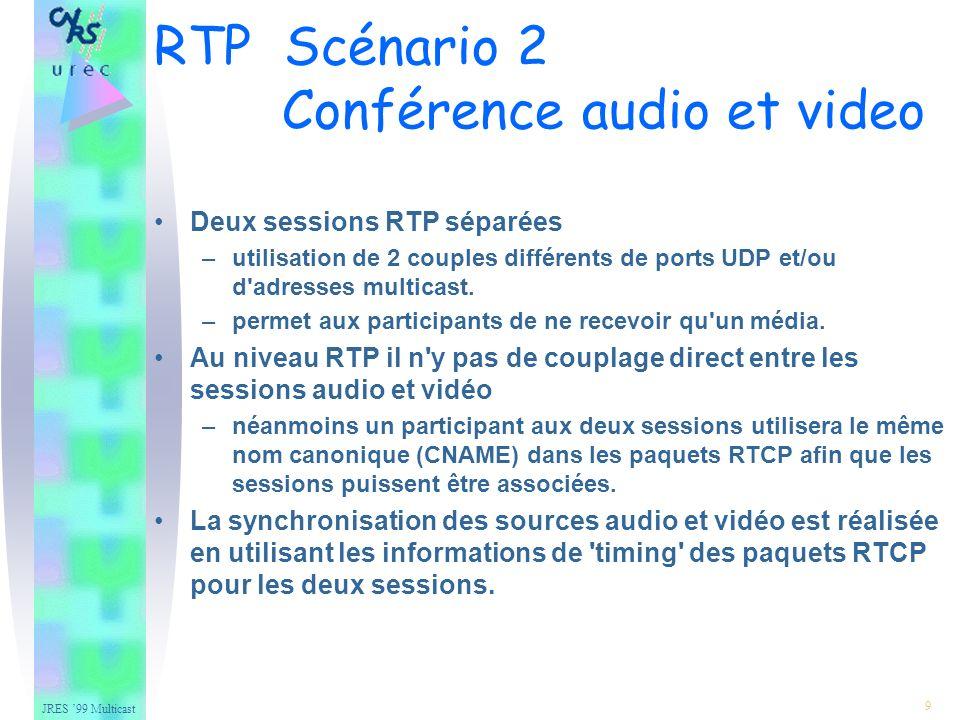 JRES 99 Multicast 20 – Mixer combine les flux de différentes sources pour former un nouveau flux il devient la source de synchronisation –tous les paquets RTP émis sont marqués avec le propre identificateur SSRC du mixer –pour préserver l identité des sources originales il inclut la liste des différents identificateurs SSRC derrière le header RTP (liste CSRC) CSRC : Contributing source Identifiers RTP Mixers et Translators