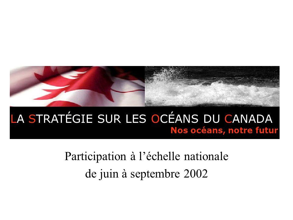 Stratégie sur les océans du Canada Participation à léchelle nationale de juin à septembre 2002 LA STRATÉGIE SUR LES OCÉANS DU CANADA Nos océans, notre futur