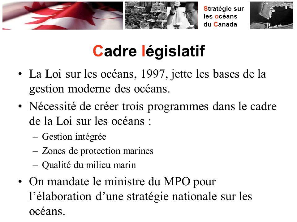 Stratégie sur les océans du Canada Cadre législatif La Loi sur les océans, 1997, jette les bases de la gestion moderne des océans.
