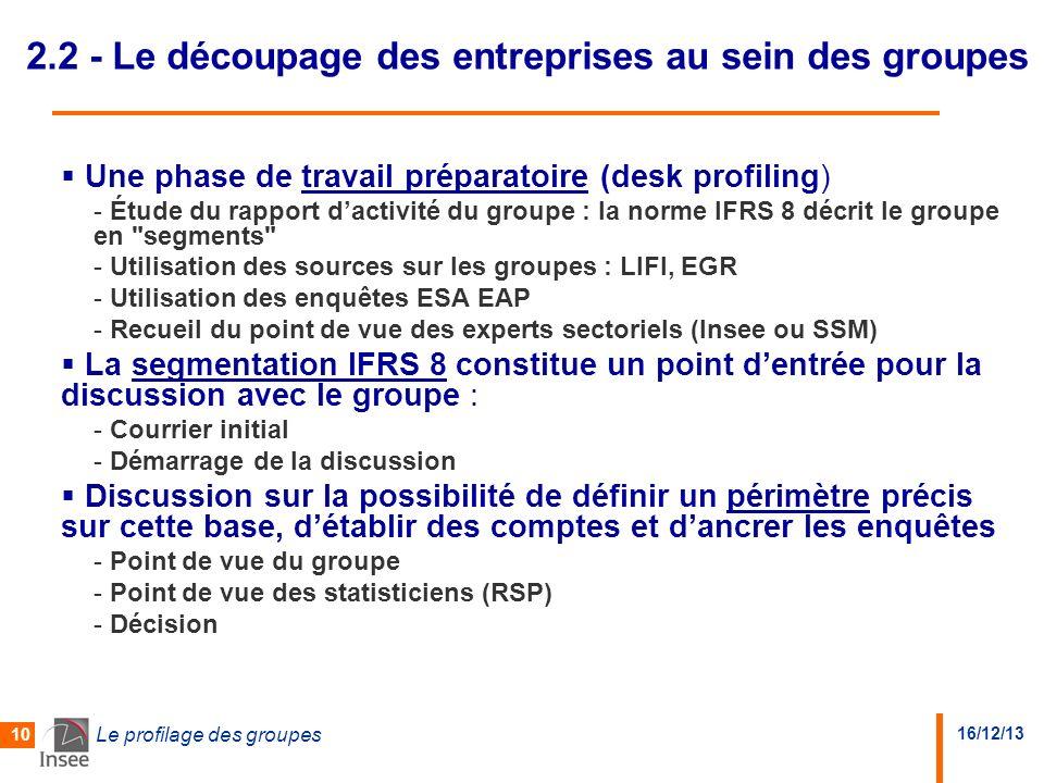 16/12/13 Le profilage des groupes 10 2.2 - Le découpage des entreprises au sein des groupes Une phase de travail préparatoire (desk profiling) - Étude du rapport dactivité du groupe : la norme IFRS 8 décrit le groupe en segments - Utilisation des sources sur les groupes : LIFI, EGR - Utilisation des enquêtes ESA EAP - Recueil du point de vue des experts sectoriels (Insee ou SSM) La segmentation IFRS 8 constitue un point dentrée pour la discussion avec le groupe : - Courrier initial - Démarrage de la discussion Discussion sur la possibilité de définir un périmètre précis sur cette base, détablir des comptes et dancrer les enquêtes - Point de vue du groupe - Point de vue des statisticiens (RSP) - Décision
