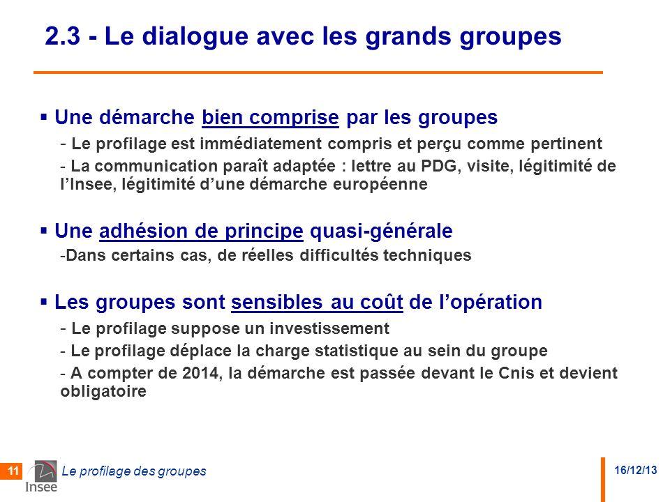 16/12/13 Le profilage des groupes 11 2.3 - Le dialogue avec les grands groupes Une démarche bien comprise par les groupes - Le profilage est immédiate