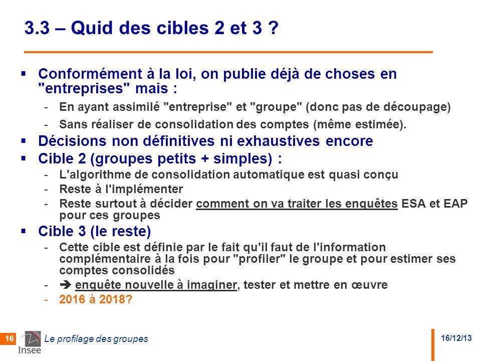 16/12/13 Le profilage des groupes 16 3.3 – Quid des cibles 2 et 3 .