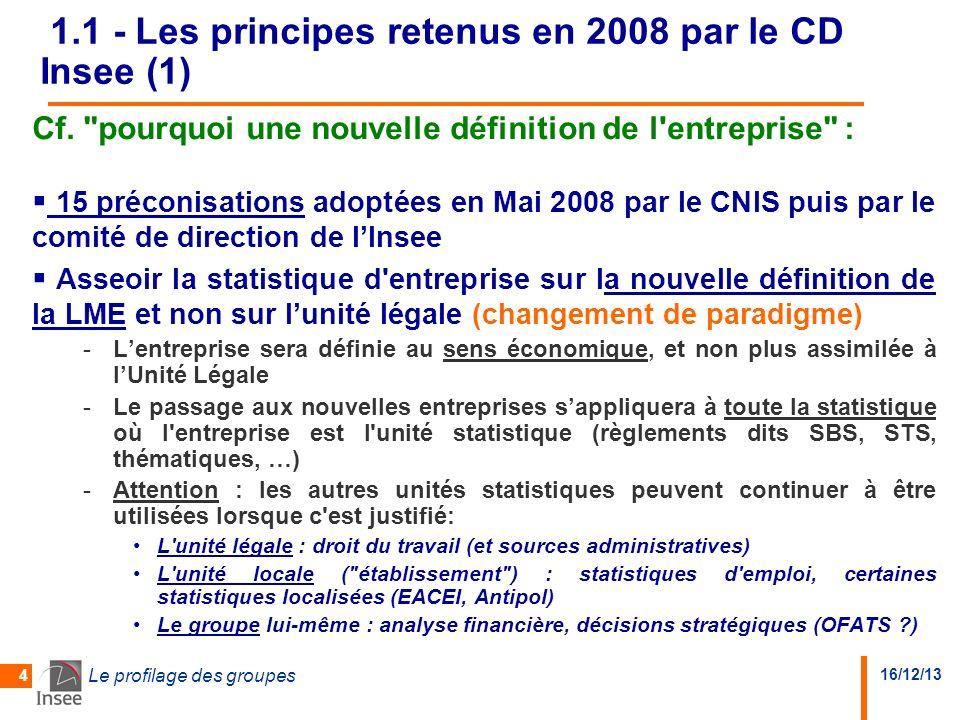 16/12/13 Le profilage des groupes 4 1.1 - Les principes retenus en 2008 par le CD Insee (1) Cf.