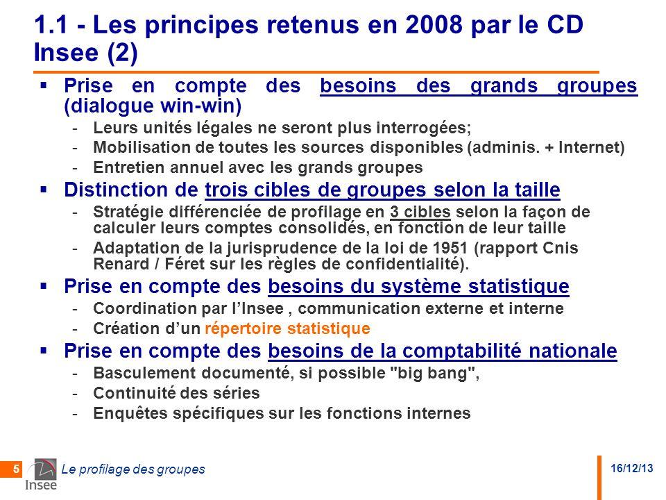 16/12/13 Le profilage des groupes 5 1.1 - Les principes retenus en 2008 par le CD Insee (2) Prise en compte des besoins des grands groupes (dialogue win-win) -Leurs unités légales ne seront plus interrogées; -Mobilisation de toutes les sources disponibles (adminis.