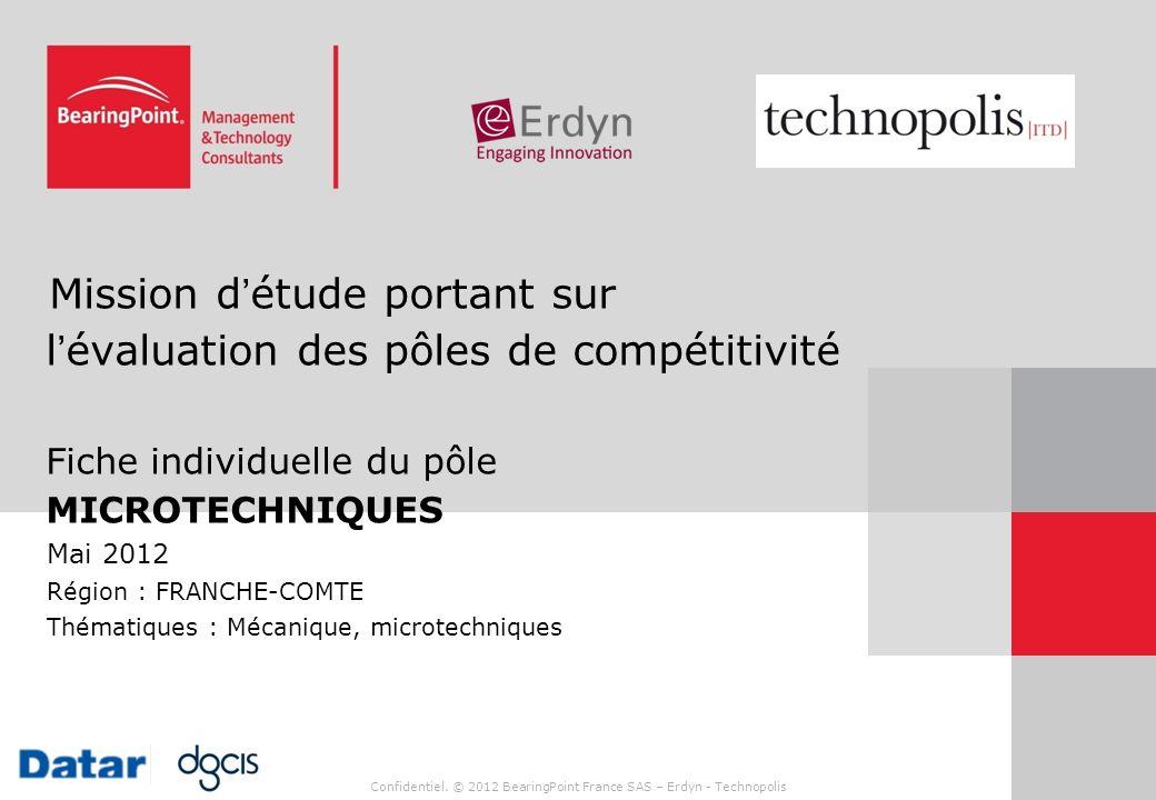 Confidentiel. © 2012 BearingPoint France SAS – Erdyn - Technopolis Mission détude portant sur lévaluation des pôles de compétitivité Fiche individuell
