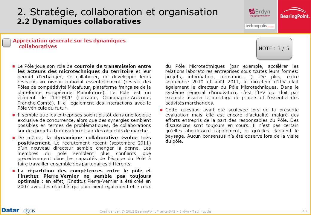 Confidentiel. © 2012 BearingPoint France SAS – Erdyn - Technopolis 10 2. Stratégie, collaboration et organisation 2.2 Dynamiques collaboratives Appréc