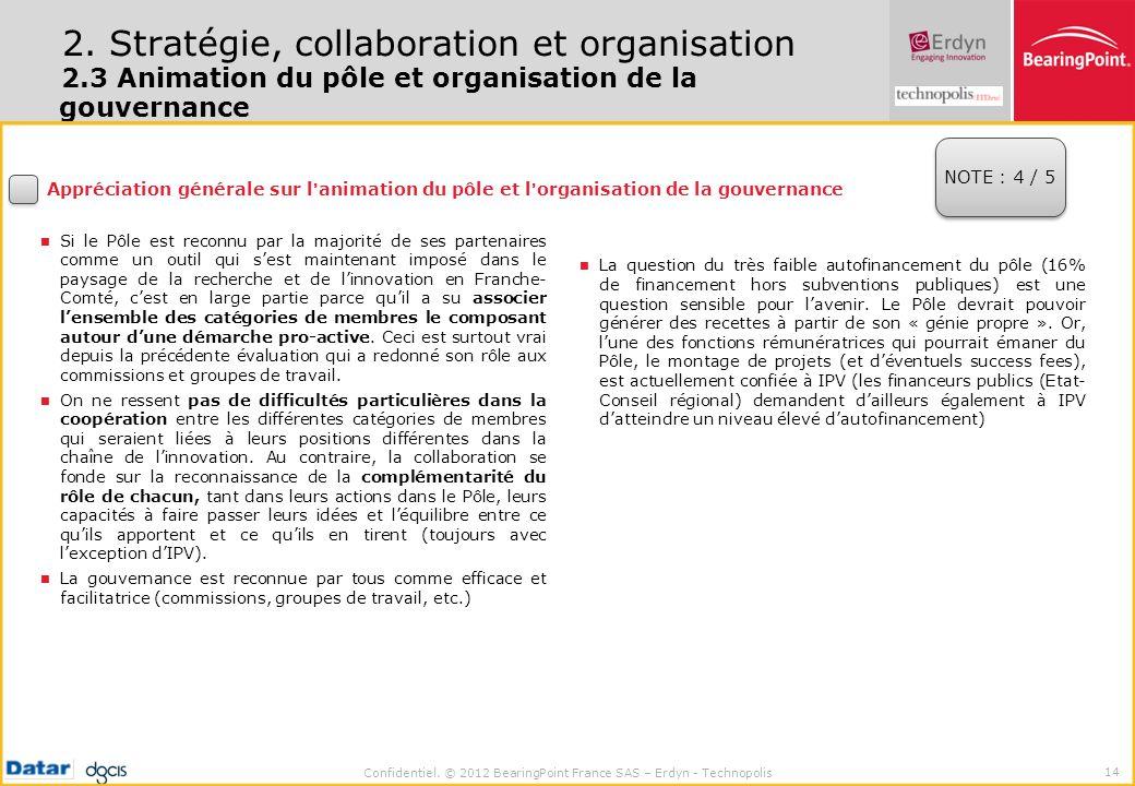 Confidentiel. © 2012 BearingPoint France SAS – Erdyn - Technopolis 14 2. Stratégie, collaboration et organisation 2.3 Animation du pôle et organisatio