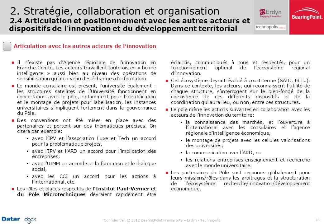 Confidentiel. © 2012 BearingPoint France SAS – Erdyn - Technopolis 16 2. Stratégie, collaboration et organisation 2.4 Articulation et positionnement a