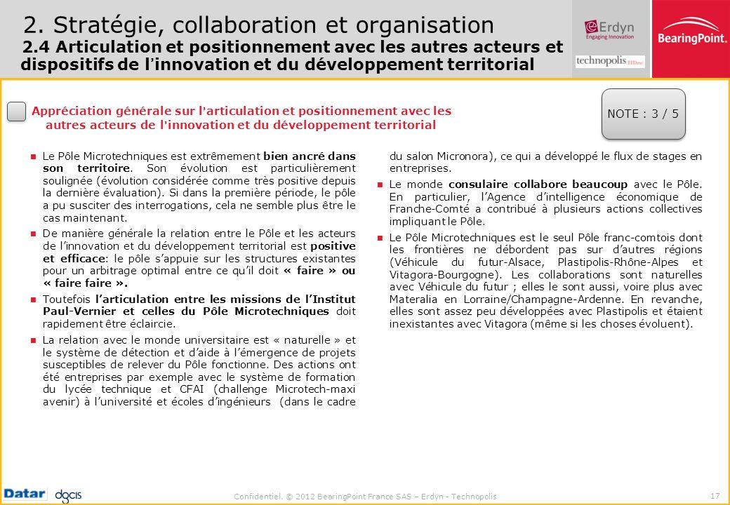 Confidentiel. © 2012 BearingPoint France SAS – Erdyn - Technopolis 17 2. Stratégie, collaboration et organisation 2.4 Articulation et positionnement a