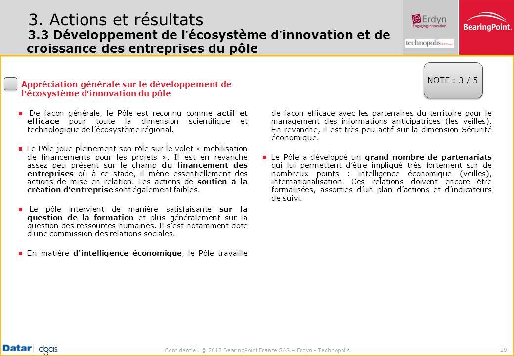 Confidentiel. © 2012 BearingPoint France SAS – Erdyn - Technopolis 29 3. Actions et résultats 3.3 Développement de lécosystème dinnovation et de crois