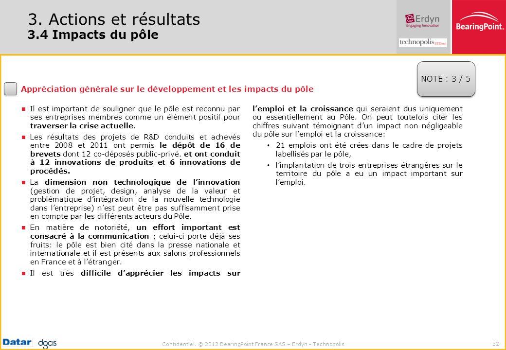 Confidentiel. © 2012 BearingPoint France SAS – Erdyn - Technopolis 32 3. Actions et résultats 3.4 Impacts du pôle Appréciation générale sur le dévelop