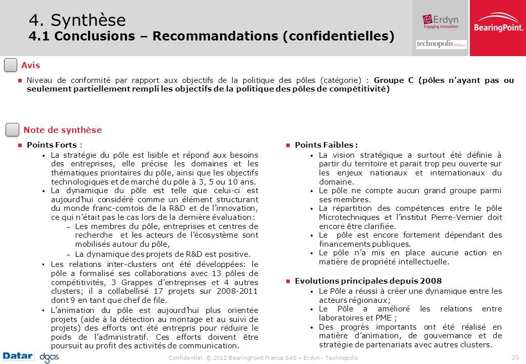Confidentiel. © 2012 BearingPoint France SAS – Erdyn - Technopolis 33 4. Synthèse 4.1 Conclusions – Recommandations (confidentielles) Points Forts : L
