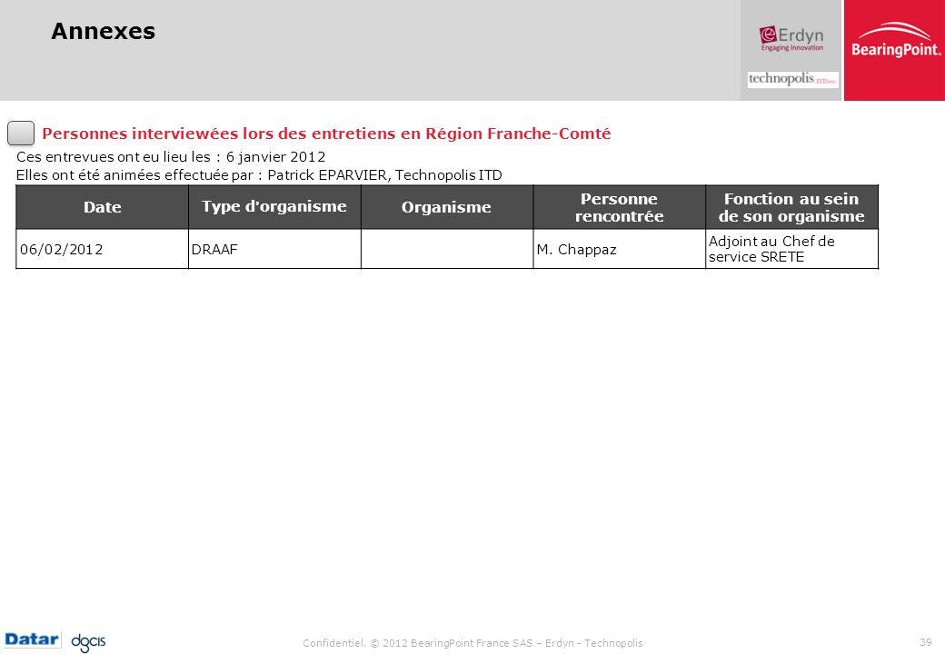 Confidentiel. © 2012 BearingPoint France SAS – Erdyn - Technopolis 39 Annexes Ces entrevues ont eu lieu les : 6 janvier 2012 Elles ont été animées eff