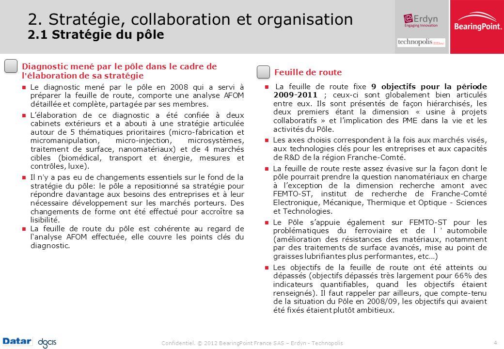 Confidentiel. © 2012 BearingPoint France SAS – Erdyn - Technopolis 4 La feuille de route fixe 9 objectifs pour la période 2009-2011 ; ceux-ci sont glo