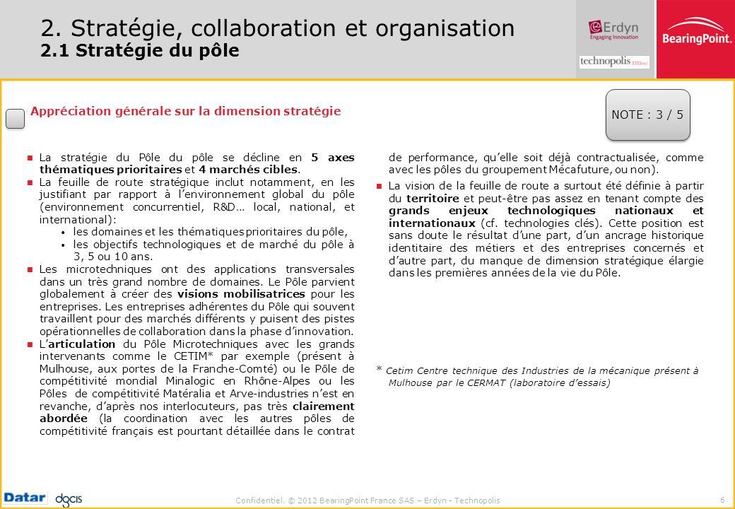Confidentiel. © 2012 BearingPoint France SAS – Erdyn - Technopolis 6 2. Stratégie, collaboration et organisation 2.1 Stratégie du pôle Appréciation gé