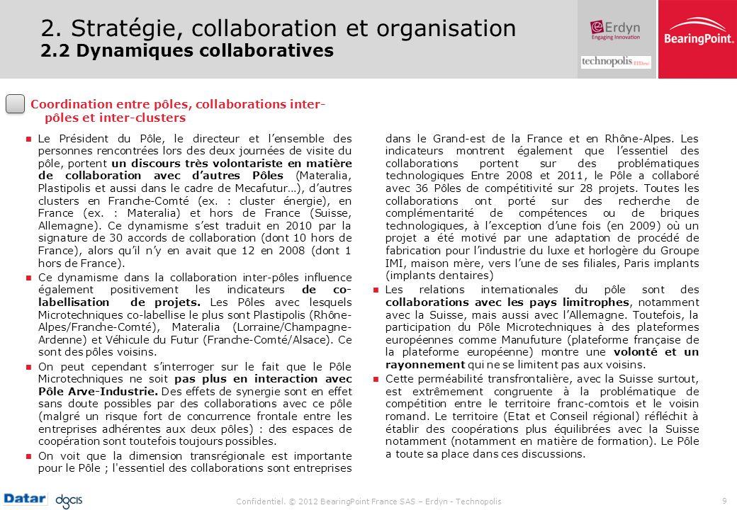 Confidentiel. © 2012 BearingPoint France SAS – Erdyn - Technopolis 9 Le Président du Pôle, le directeur et lensemble des personnes rencontrées lors de