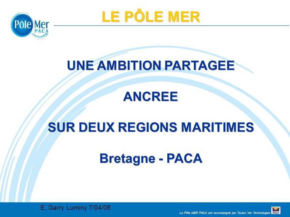 Conseil Régional 2005 02 11 Connaissance, maîtrise et sécurité de l environnement marin et des systèmes navals 12 LE PÔLE MER Quelle stratégie pour 2007 Adhésion envisagée du Pole Mer via TVT à la plateforme technologique WATERBORNE chargée de contribuer à informer les fonctionnaires européens sur les axes de projet et les thématiques (construction navale mais aussi environnement et sûreté sécurité) Relais européen via la représentation PACA à Bruxelles Prise de contact avec les autres clusters existants pour bâtir des accords de coopération (cluster de Kiel, GB..