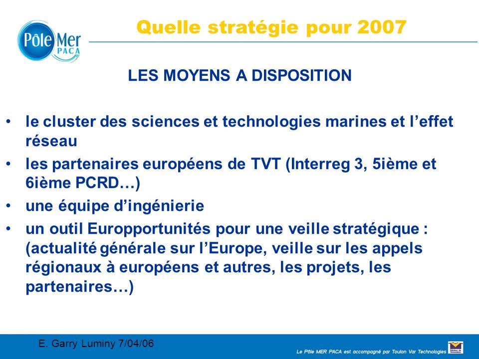 Conseil Régional 2005 02 11 Connaissance, maîtrise et sécurité de l environnement marin et des systèmes navals 9 LE PÔLE MER Quelle stratégie pour 2007 LES MOYENS A DISPOSITION le cluster des sciences et technologies marines et leffet réseau les partenaires européens de TVT (Interreg 3, 5ième et 6ième PCRD…) une équipe dingénierie un outil Europportunités pour une veille stratégique : (actualité générale sur lEurope, veille sur les appels régionaux à européens et autres, les projets, les partenaires…) E.