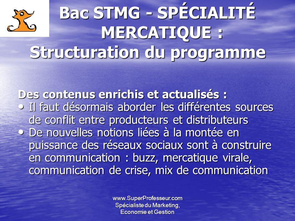 www.SuperProfesseur.com Spécialiste du Marketing, Economie et Gestion Bac STMG - SPÉCIALITÉ MERCATIQUE : Structuration du programme Bac STMG - SPÉCIAL