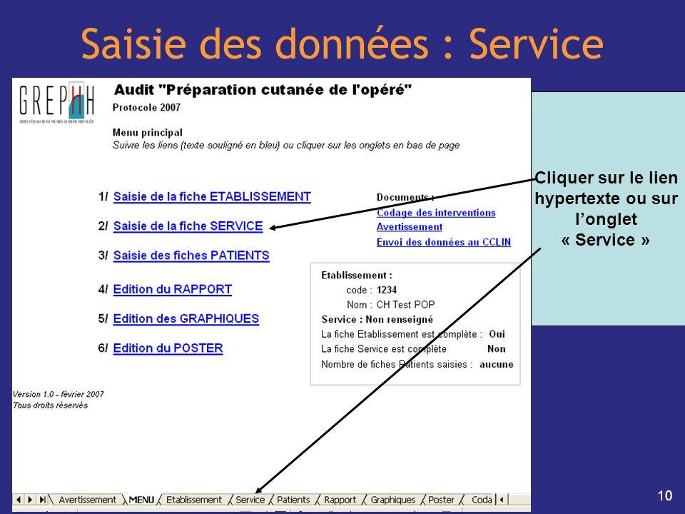 10 Saisie des données : Service Cliquer sur le lien hypertexte ou sur longlet « Service »